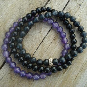 Bracelet Trio (black purple blue)