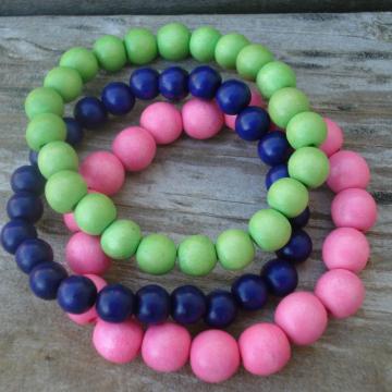 Wood Bracelet Trio (pink, green, purple)