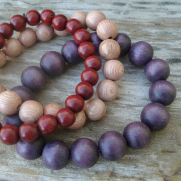 Wood Bracelet Trio (red brown, natural and aubergine)