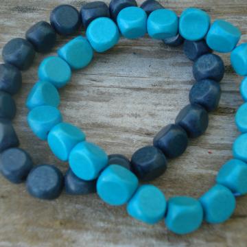 Wood Bracelet Duo (turquoise & blue-grey)