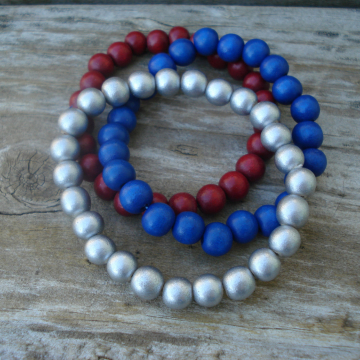 Wood Bracelet Duo (red, silver, blue)