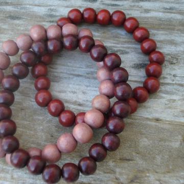 Wood Bracelet Trio (dark brown, red brown, mauve brown)