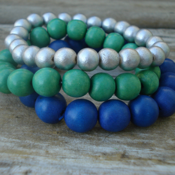 Wood Bracelet Trio (green, blue and silver)