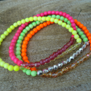 NEON & CRYSTAL STACK Bracelet (choice)