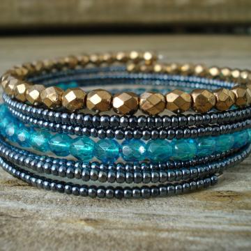 Memory Wire Beaded Wrap bracelet in NIGHT OWL (6 coil bracelet)