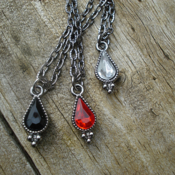 Glass and metal teardrop necklace - Caroline (choice of color)