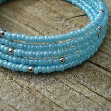 BRACELET (6 coil turquoise silver)