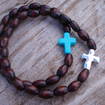 CROSS STRETCH BRACELET (rice shape + choice)