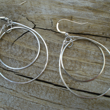 Hammered Sterling Silver Duo Earrings