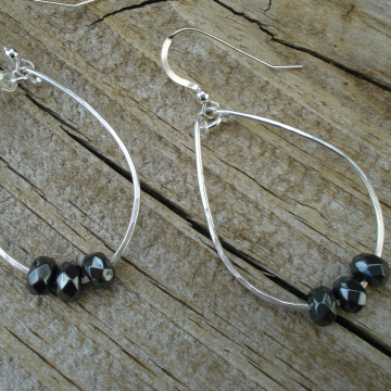 Medium Hammered Sterling Hoops with Hematite Rondelles