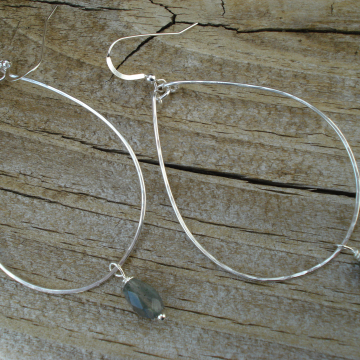 Large Hammered Sterling Silver Hoops with Labradorite drops