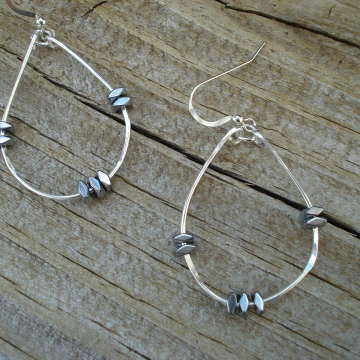 Medium Hammered Sterling Silver Hoops with Hemalyke accents