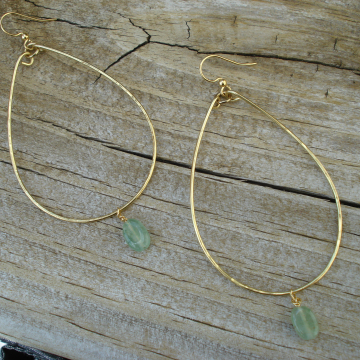 Large Hammered Brass Hoops with Green Aventurine