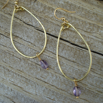 Medium Hammered Brass Earrings with Genuine Amethyst Drops