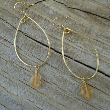 Medium Hammered Brass Hoops with Citrine Drops