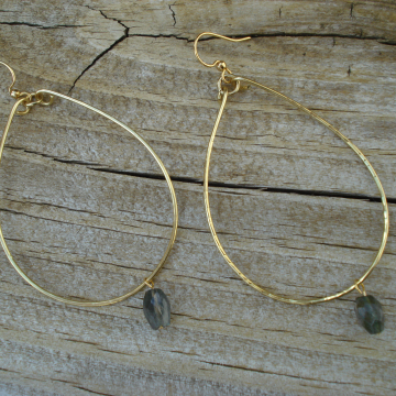 Large Hammered Brass Hoops with Labradorite