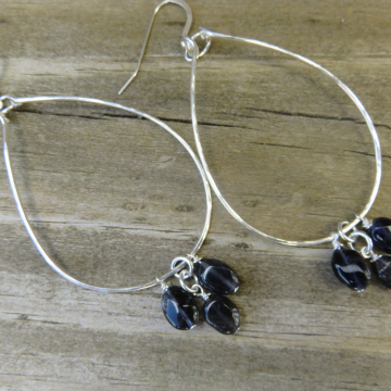 Large Hammered Hoops with Genuine Iolite Trio