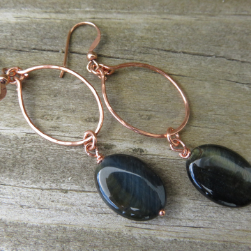 Small Hammered Copper Hoops with Large Blue-Green Cat's Eye