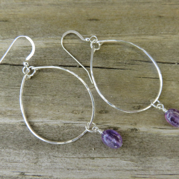 Medium Hammered Sterling Silver with Amethyst Earrings