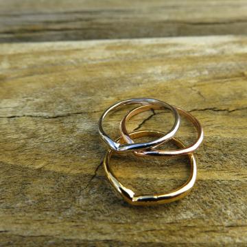 Tri-Color Midi Ring Trio