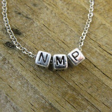 NMP Necklace (Not My President) - silver acrylic blocks