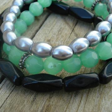 BRACELET TRIO (silver green black)