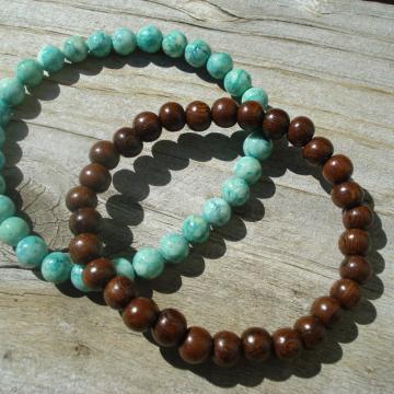 Bracelet Set (green riverstone/wood)