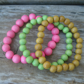 Wood Bracelet Duo (pink, green, yellow)