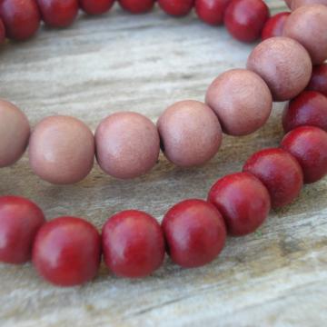 Wood Bracelet Duo (light brown, red)