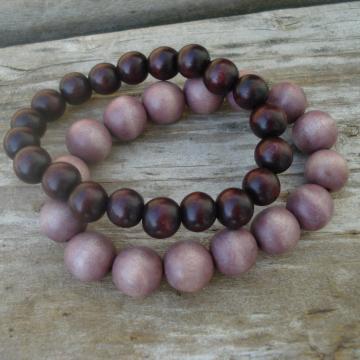 Wood Bracelet Duo (dark brown, light mauve)