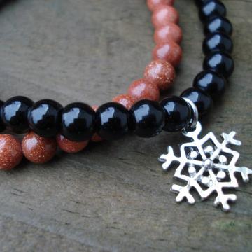 Goldstone & Black Obsidian Bracelet Set with Snowflake Charm