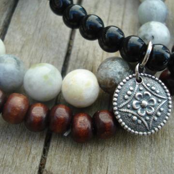 Bracelet Bundle (obsidian, wood and jasper)