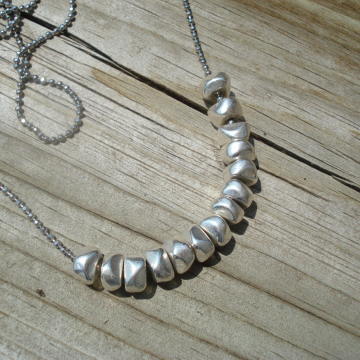 Silvertone or Brass Nugget KONO Necklace (silver or two tone)