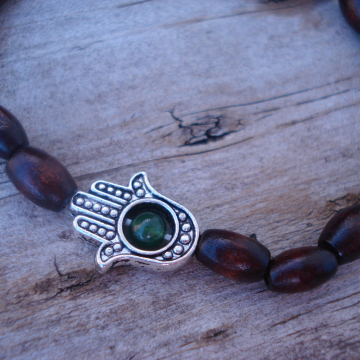 HAMSA bracelet with green aventurine