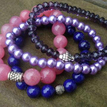 Gemstone, glass, pearl Bracelet Quad (purple & cherry quartz)