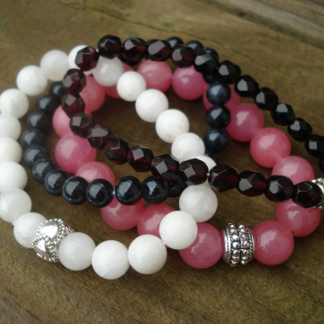 Bracelet Quad (black, white & cherry)