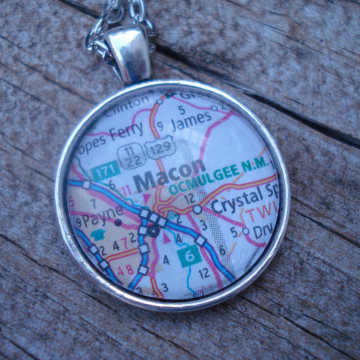 Map pendant under glass.... I Left My Heart In .... Necklace