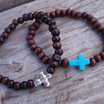 CROSS STRETCH BRACELET (rondelle + choice)