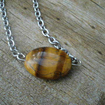 Singular Necklace (Tiger Eye)