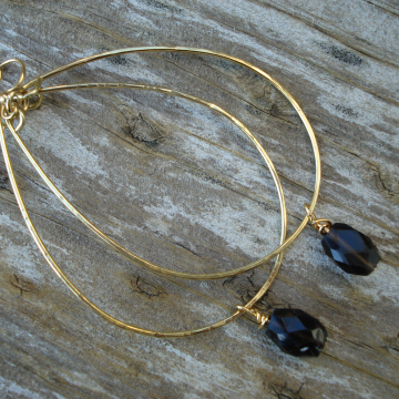 Large Hammered Brass Hoops with Smokey Topaz