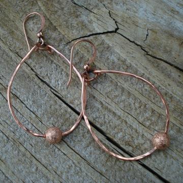 Medium Hammered Earrings with Starburst Ball