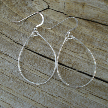Medium Hammered Sterling Silver Hoops